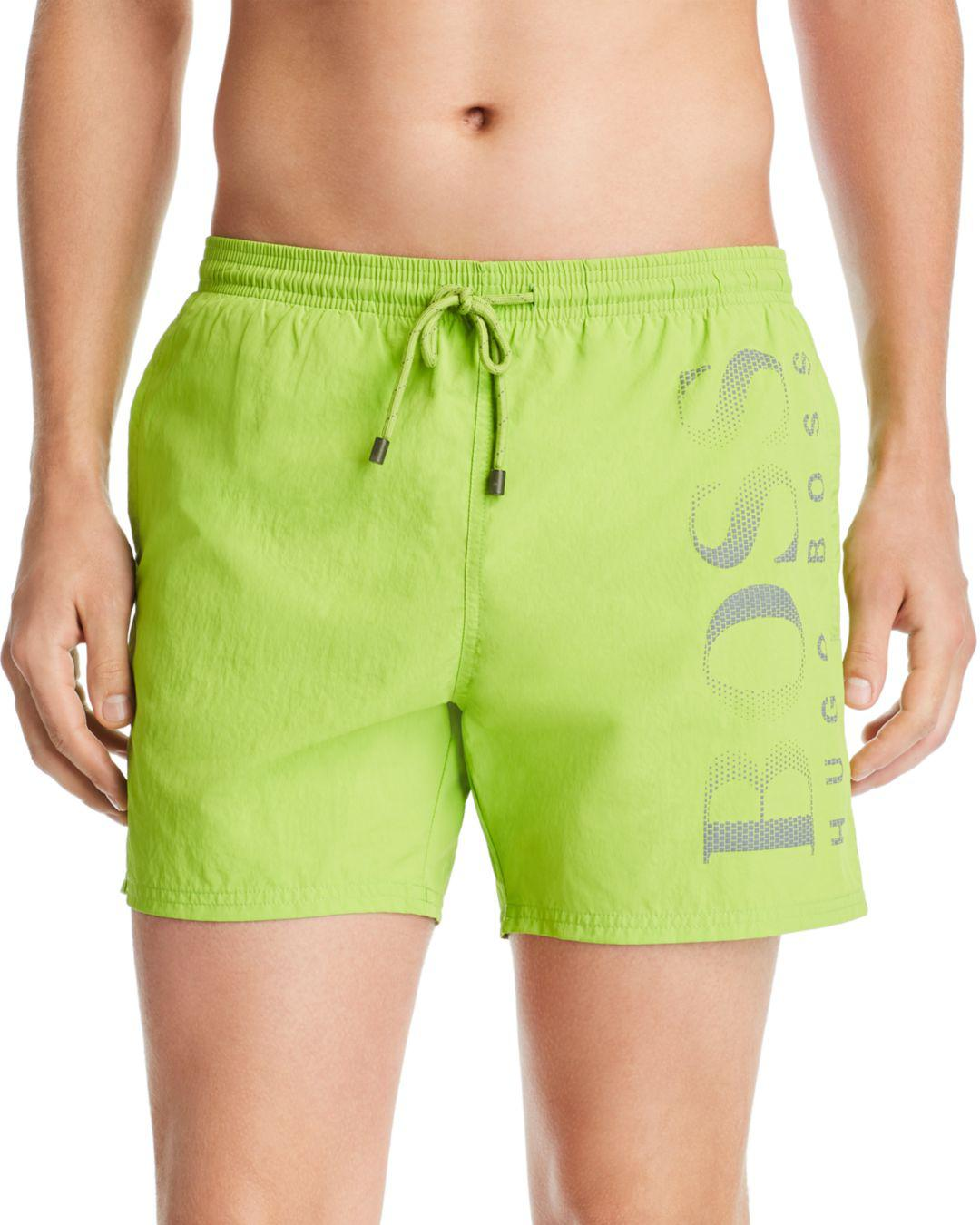 7b676c9e32a95 Boss Logo-print Swim Shorts in Green for Men - Lyst