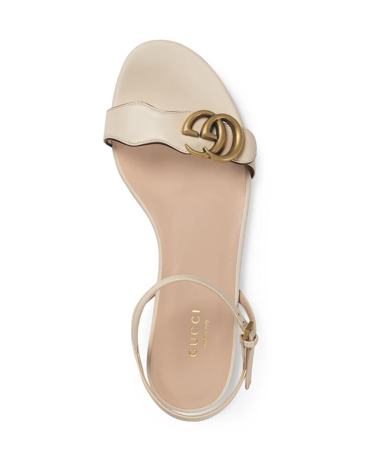248ff2c8c35d Lyst - Gucci Women s Marmont Leather Double G Sandals in White