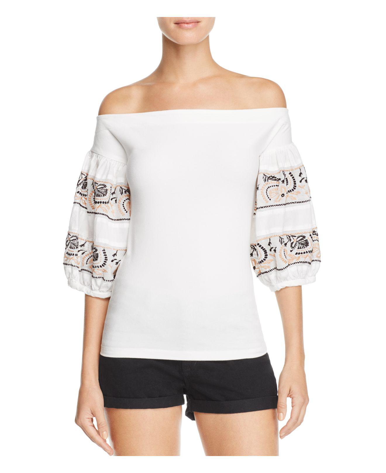 19c95d0bea359 Lyst - Free People Rock With It Embroidered Off-the-shoulder Top in ...