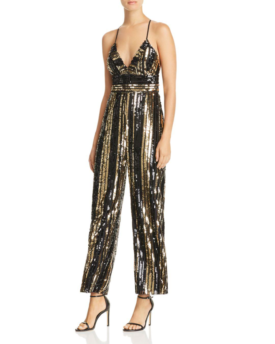 In Bardot Lyst Goldie Jumpsuit 17 Sequin Metallic Stripe Save FAFCqxdXw