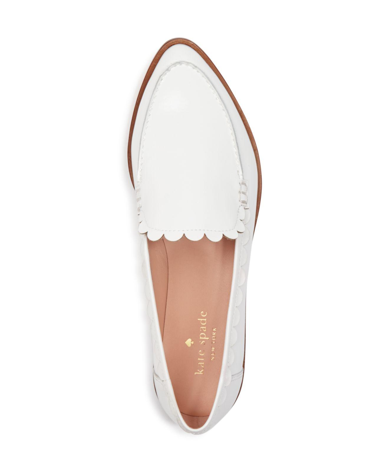 bcac91193e49 Lyst - Kate Spade Cape Scalloped Loafers in White