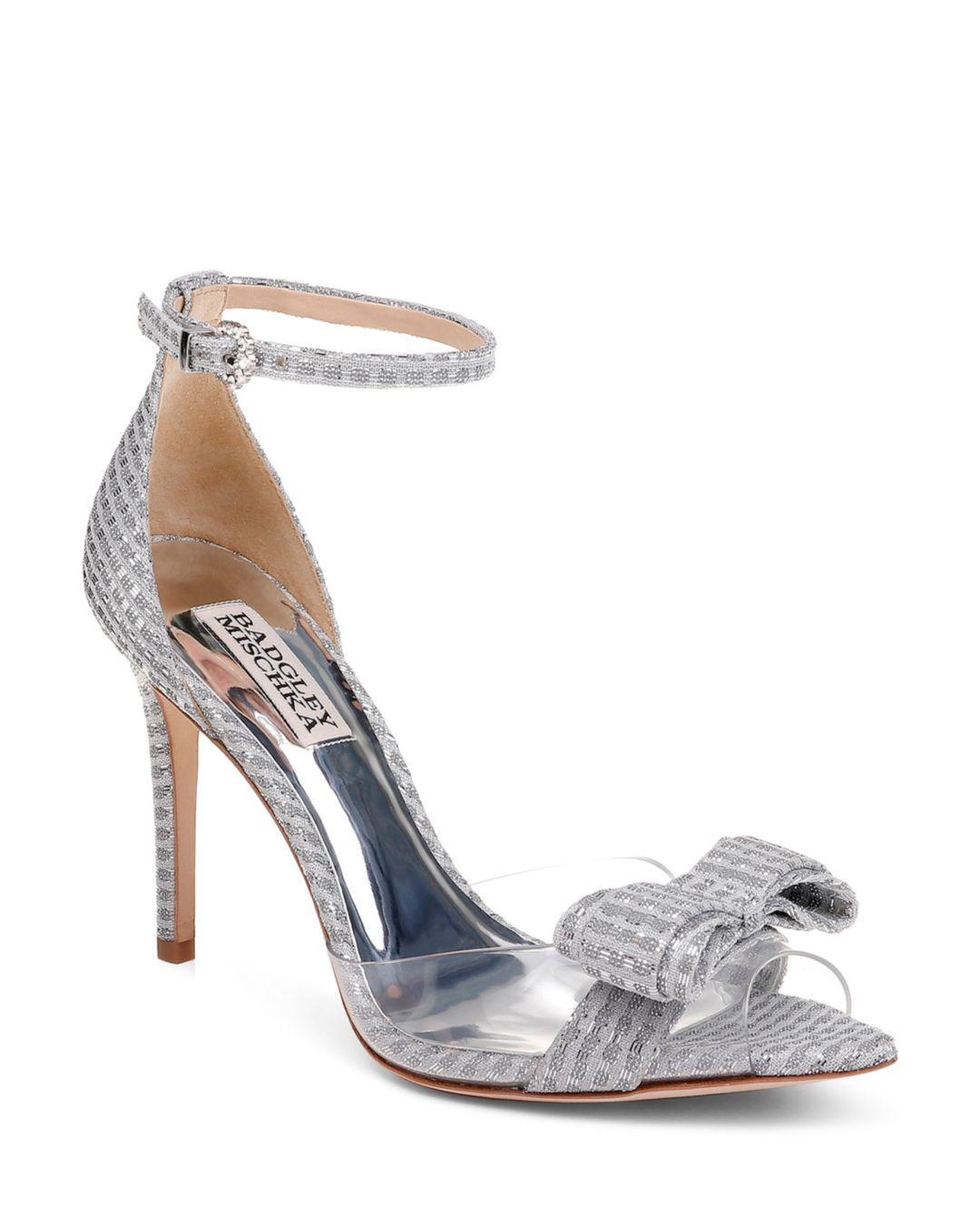 1adecf4219 Badgley Mischka Women's Lindsay Clear Peep Toe Pumps in Metallic ...