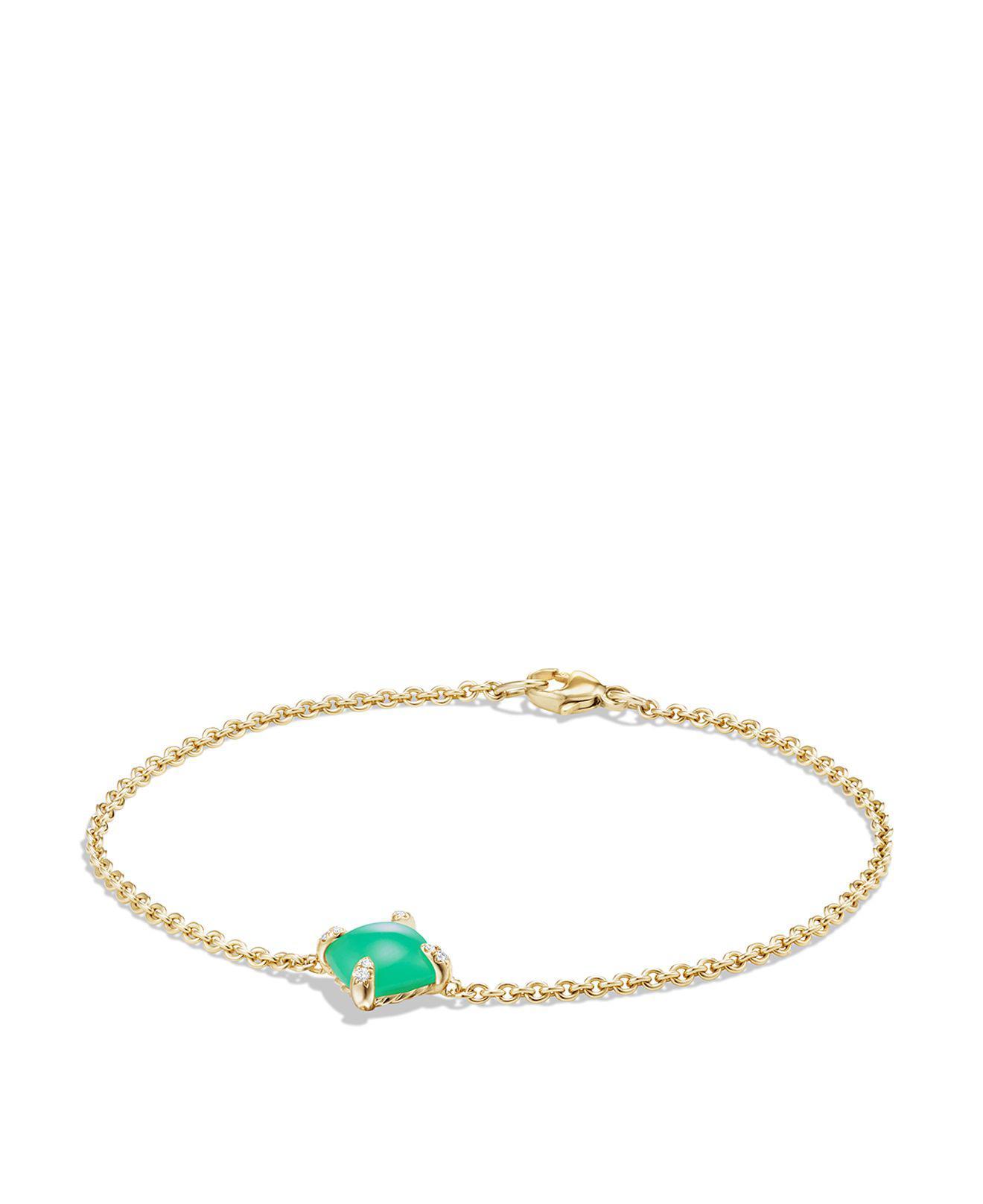 David Yurman 18kt yellow gold Solari chrysoprase bead cuff bracelet - Green 4YiaqK