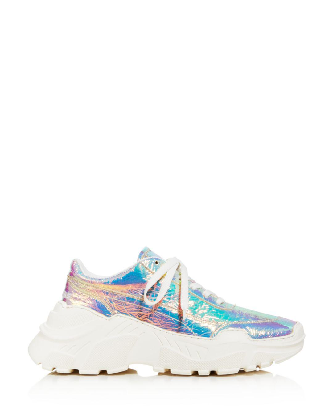 d9226306ccb5 Lyst - Joshua Sanders Women s Leather   Holographic Foil Lace Up Sneakers  in White