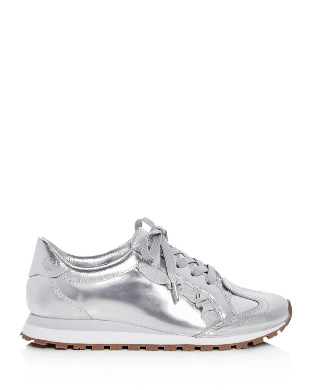 138aa533941e26 Lyst - Tory Sport Women s Ruffle Trainer Leather Lace Up Sneakers in  Metallic - Save 40%
