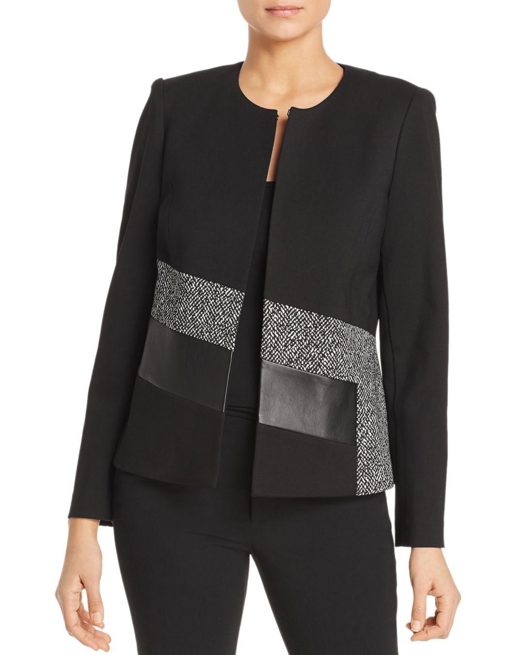 4e5ec94770b96 Lyst - Calvin Klein Mixed Media Jacket in Black