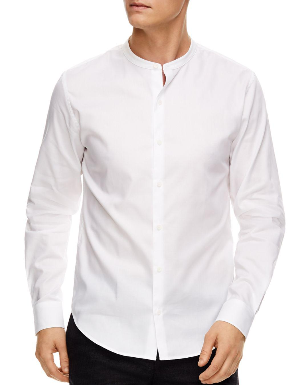 Sandro Oxford Banded Collar Slim Fit Button Down Shirt In White For