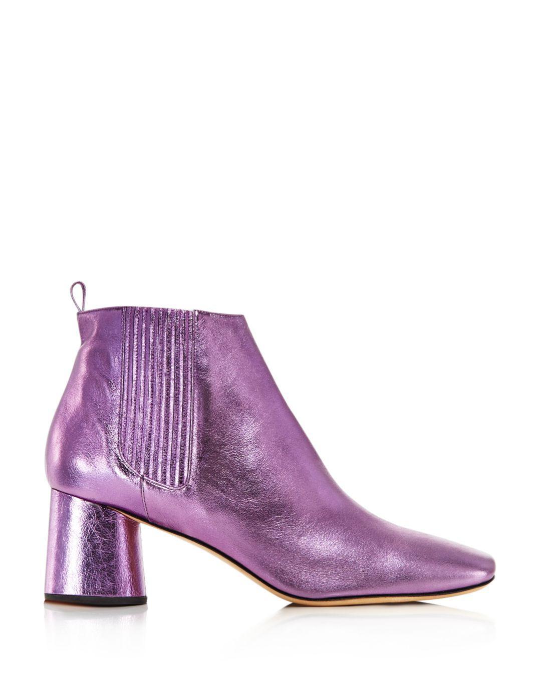 d6dfe6104d9c Lyst - Marc Jacobs Women s Rocket Round Block Heel Chelsea Booties in Purple