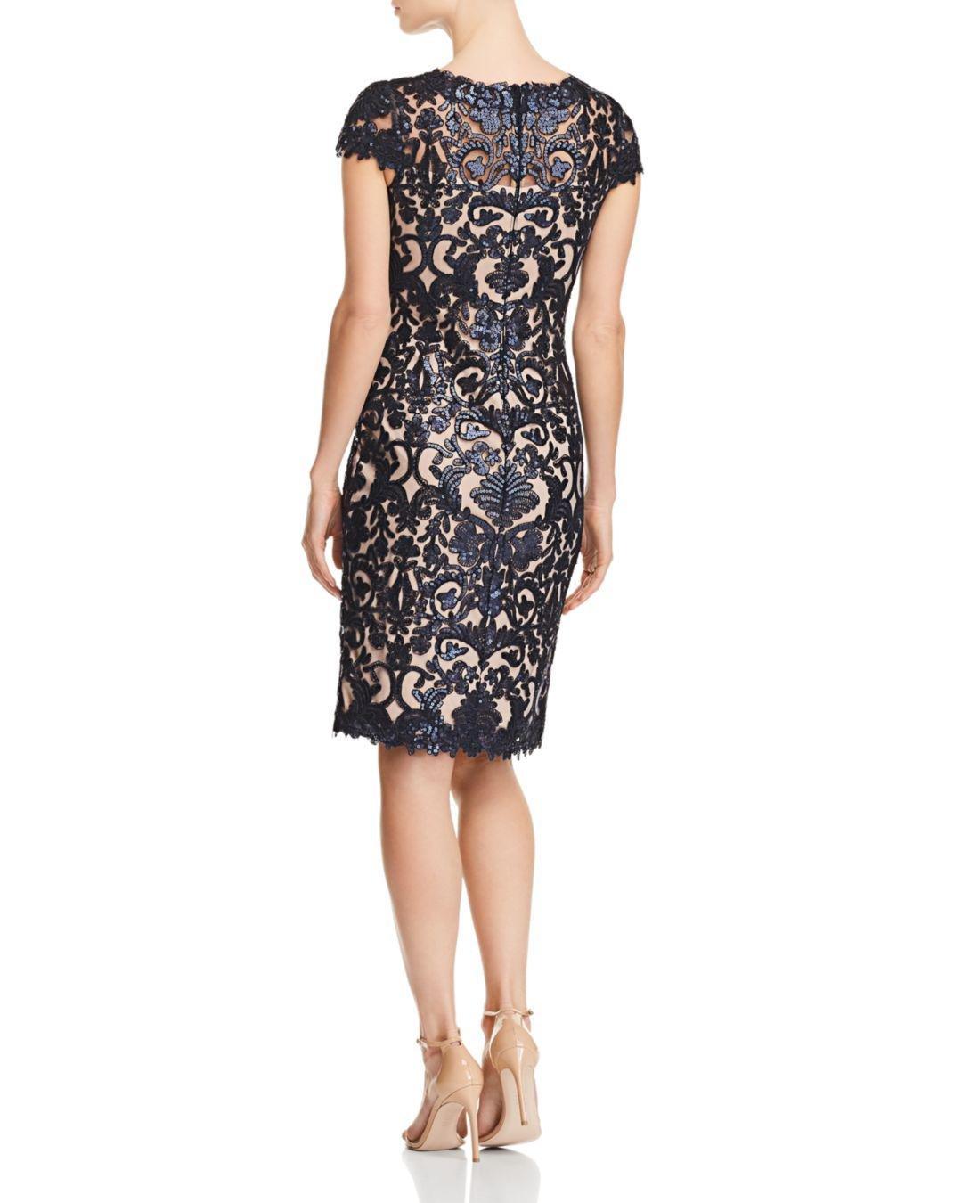 842452e405b1 Lyst - Tadashi Shoji Tadashi Shoji Petites Sequined Damask Dress in Black