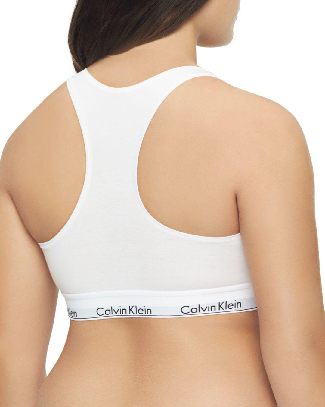3725e789df42 Calvin Klein Plus Modern Cotton Unlined Racerback Bralette in White - Lyst