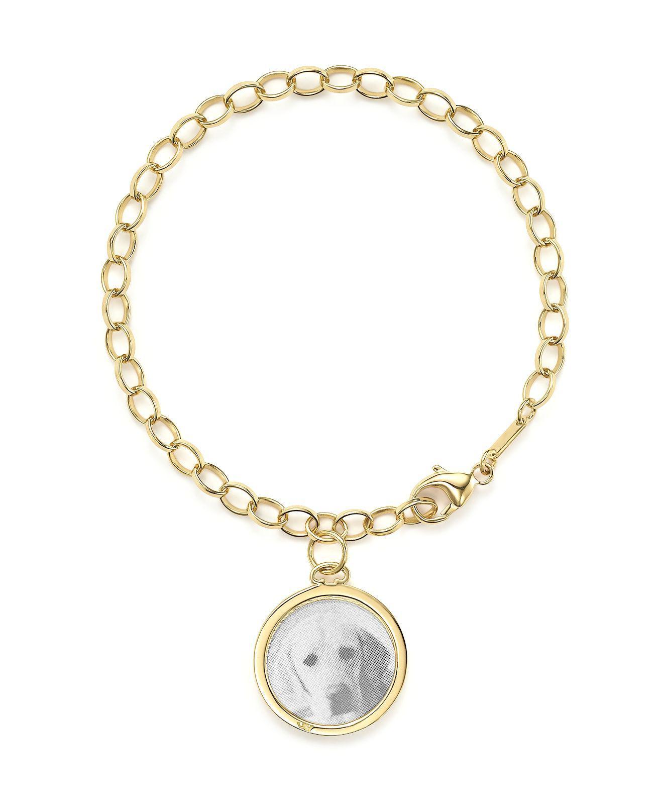 Monica Rich Kosann 18k Yellow Gold Chain Lock Charm Bracelet xbeK8