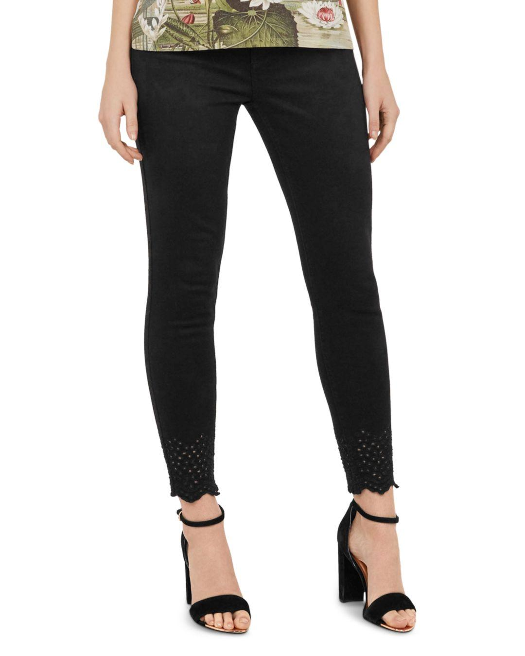 0392d84aa9327a Lyst - Ted Baker Massiee Embroidered-hem Skinny Jeans In Black in Black