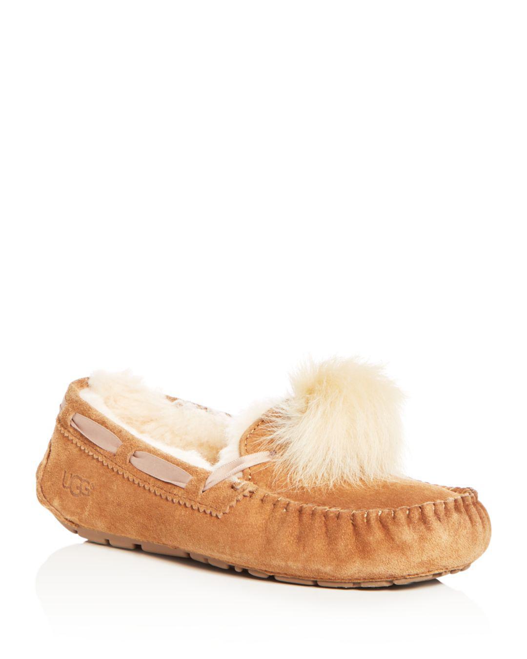 ade55cf7277 Lyst - UGG Women s Dakota Sheepskin Pom-pom Slippers in Brown