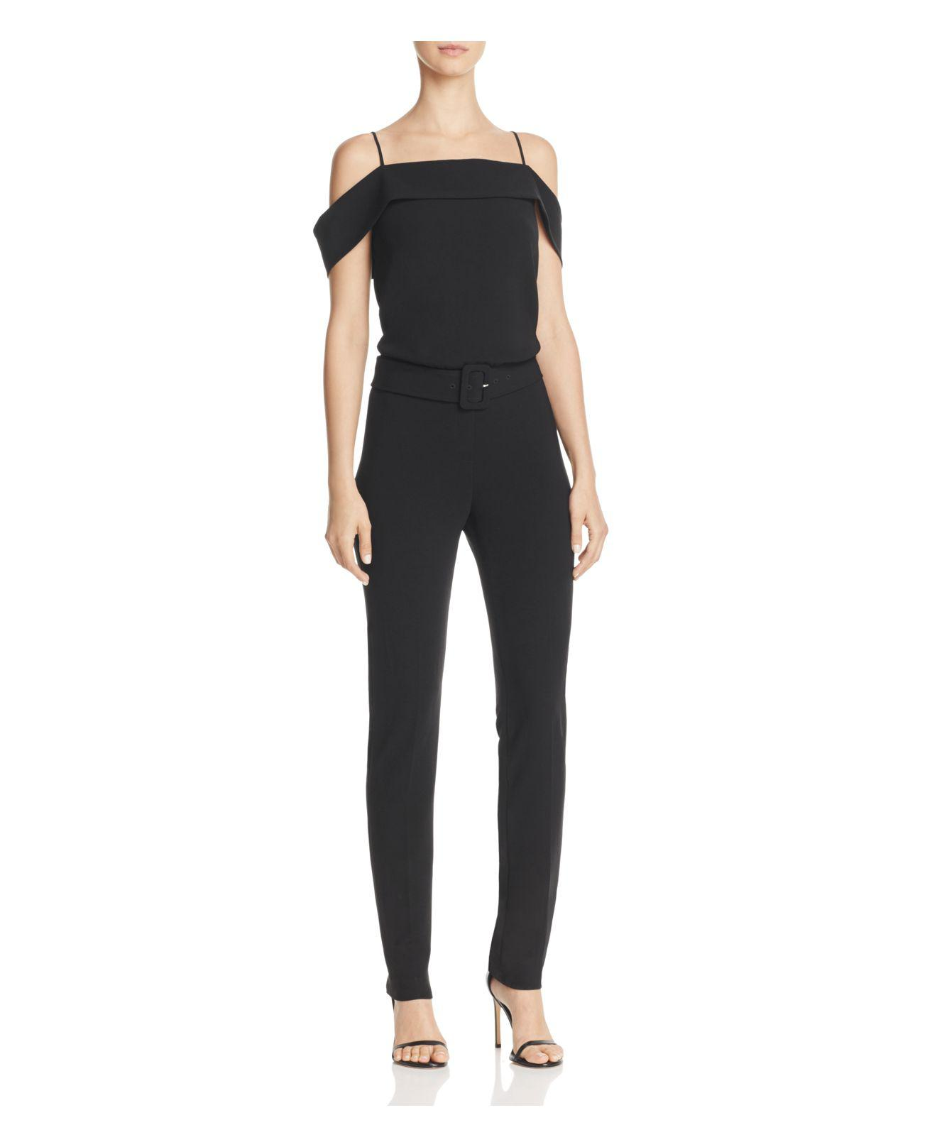 be486a46cf27 Lyst - Theory Cold-shoulder Jumpsuit in Black