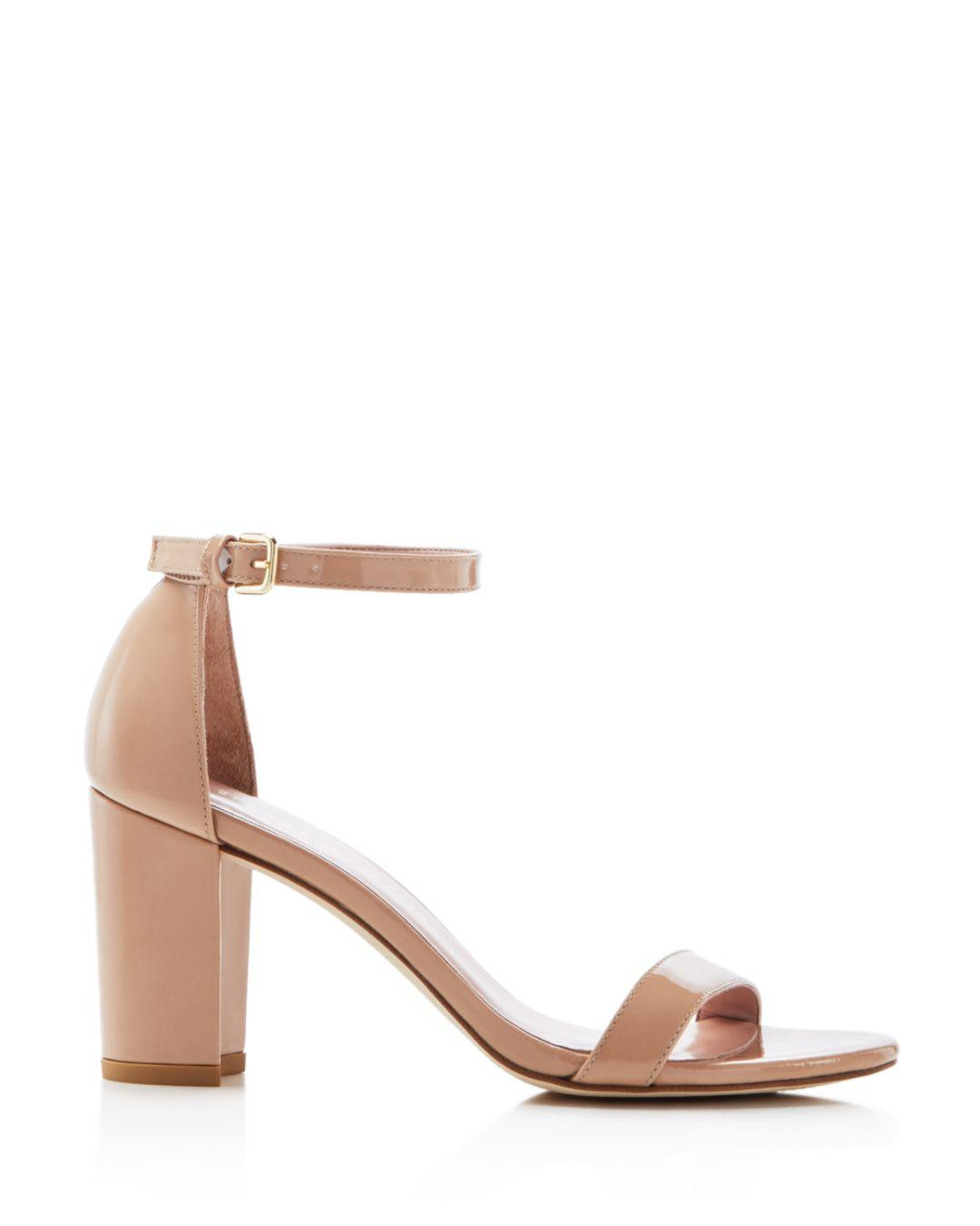 72d067bec7a3 Lyst - Stuart Weitzman Women s Nearlynude Ankle Strap Sandals