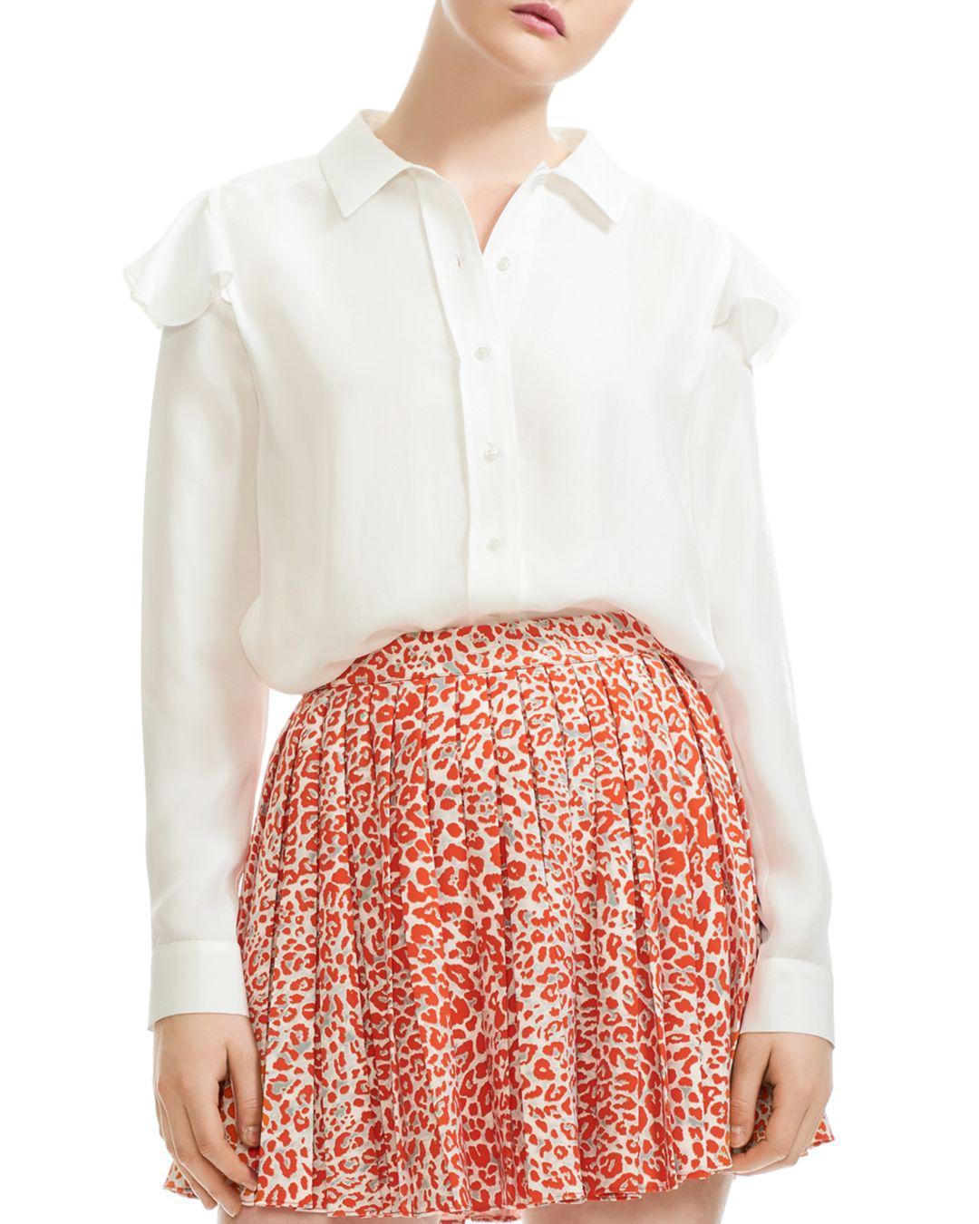 c4f152c2d5494 Maje Chella Button-down Silk Shirt in White - Lyst