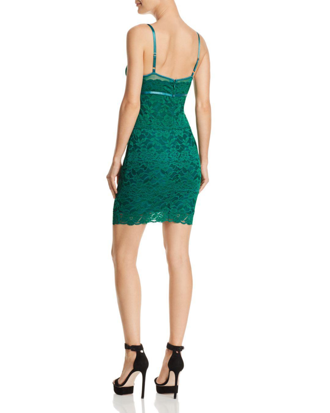 guess jojo lace body con dress in green lyst