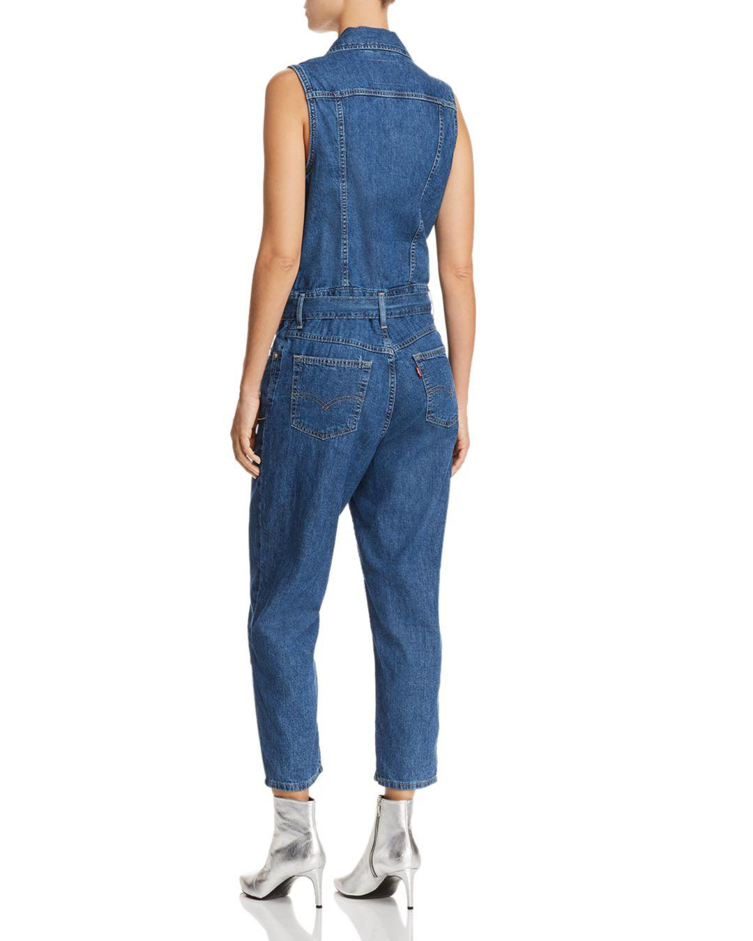 a98db14548 Lyst - Levi s Tapered Denim Jumpsuit In Delicate Condition in Blue