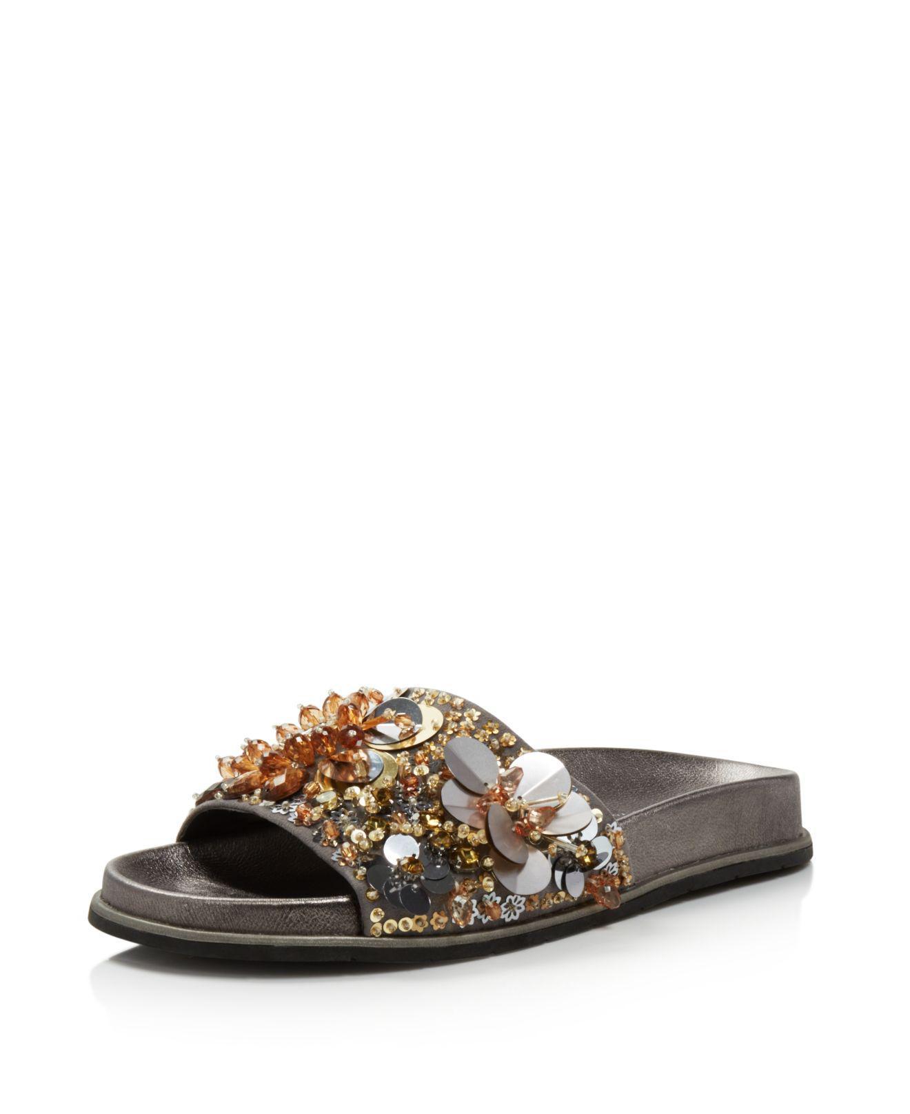 Kenneth Cole Women's Xenia Sequin-Embellished Pool Slide Sandals O5ElEZIH7