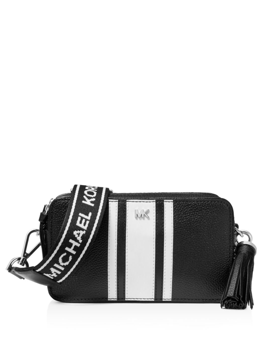 b5c86064472ced Michael Kors Small Striped Leather Camera Crossbody in Black - Save ...