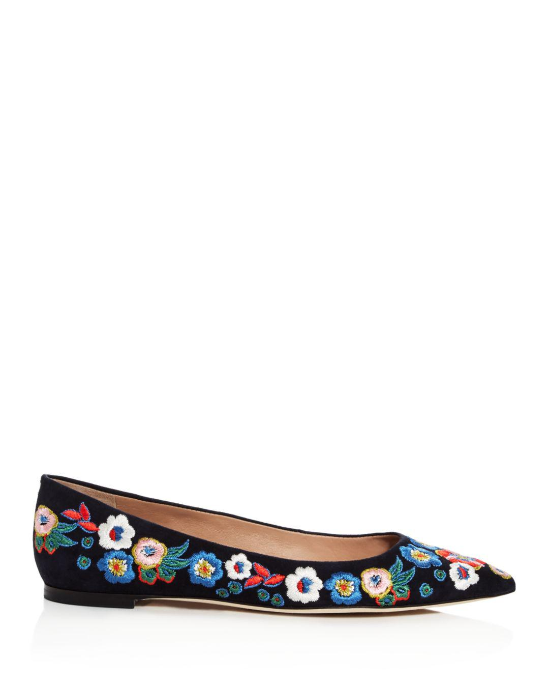3b61f90efce66a Lyst - Tory Burch Women s Rosemont Embroidered Suede Pointed Toe ...