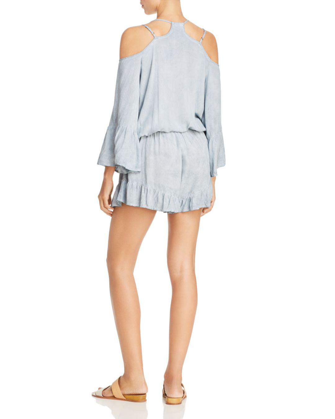 08ccdbc3fe Lyst - Surf Gypsy Washed Denim & Crochet Lace Pleated Romper Swim Cover-up  in Blue