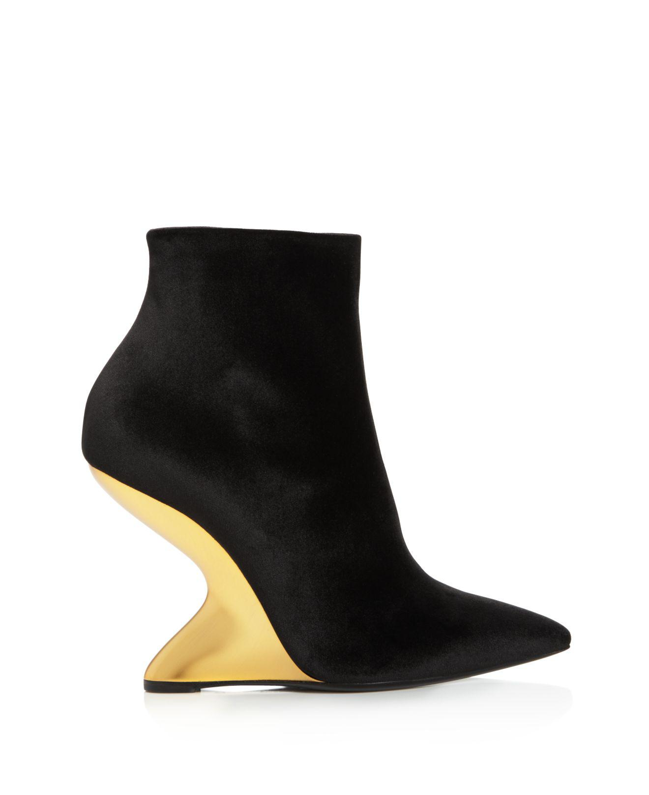 Salvatore Ferragamo Bolgheriv Velvet Bootie with Golden Wedge Heel, Nero