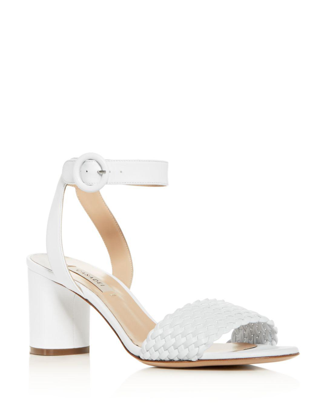 2624bce97 Lyst - Casadei Women s Woven Ankle-strap Block-heel Sandals in White
