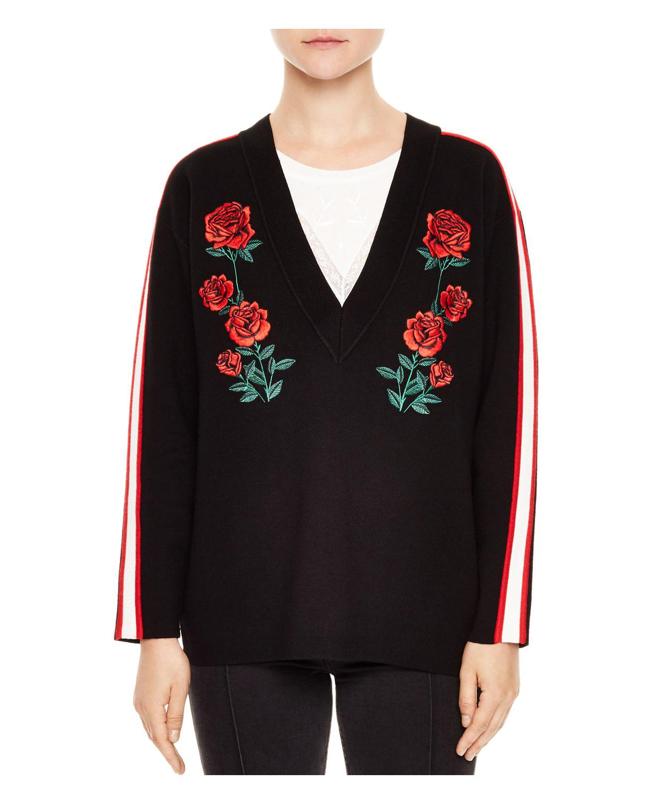 Lyst sandro indira rose embroidered sweater in black