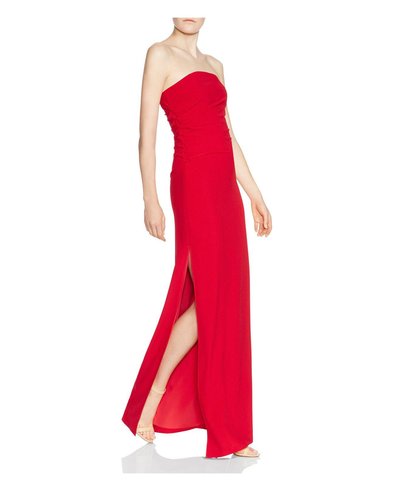 693d48ffbcf Halston Strapless Ruched-side Column Gown in Red - Lyst