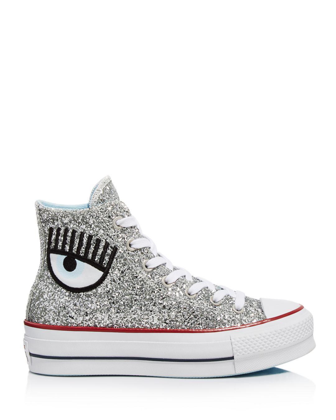 bcefa47673c Converse - Metallic X Chiara Ferragni Women s Chuck Taylor Glitter High Top  Sneakers - Lyst. View fullscreen