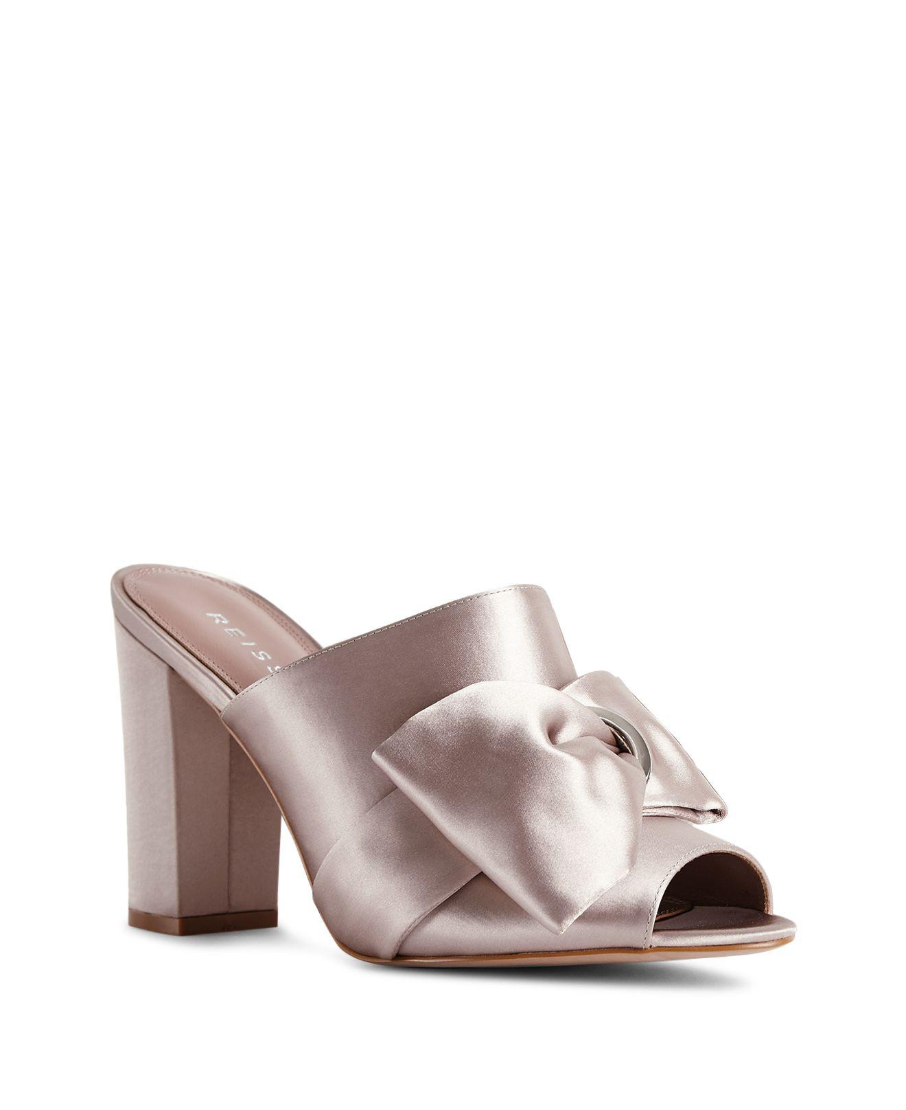 Reiss Women's Molly Bow-Detail Satin Slide Sandals Free Shipping Affordable Cheap Buy Authentic pPTdj3p