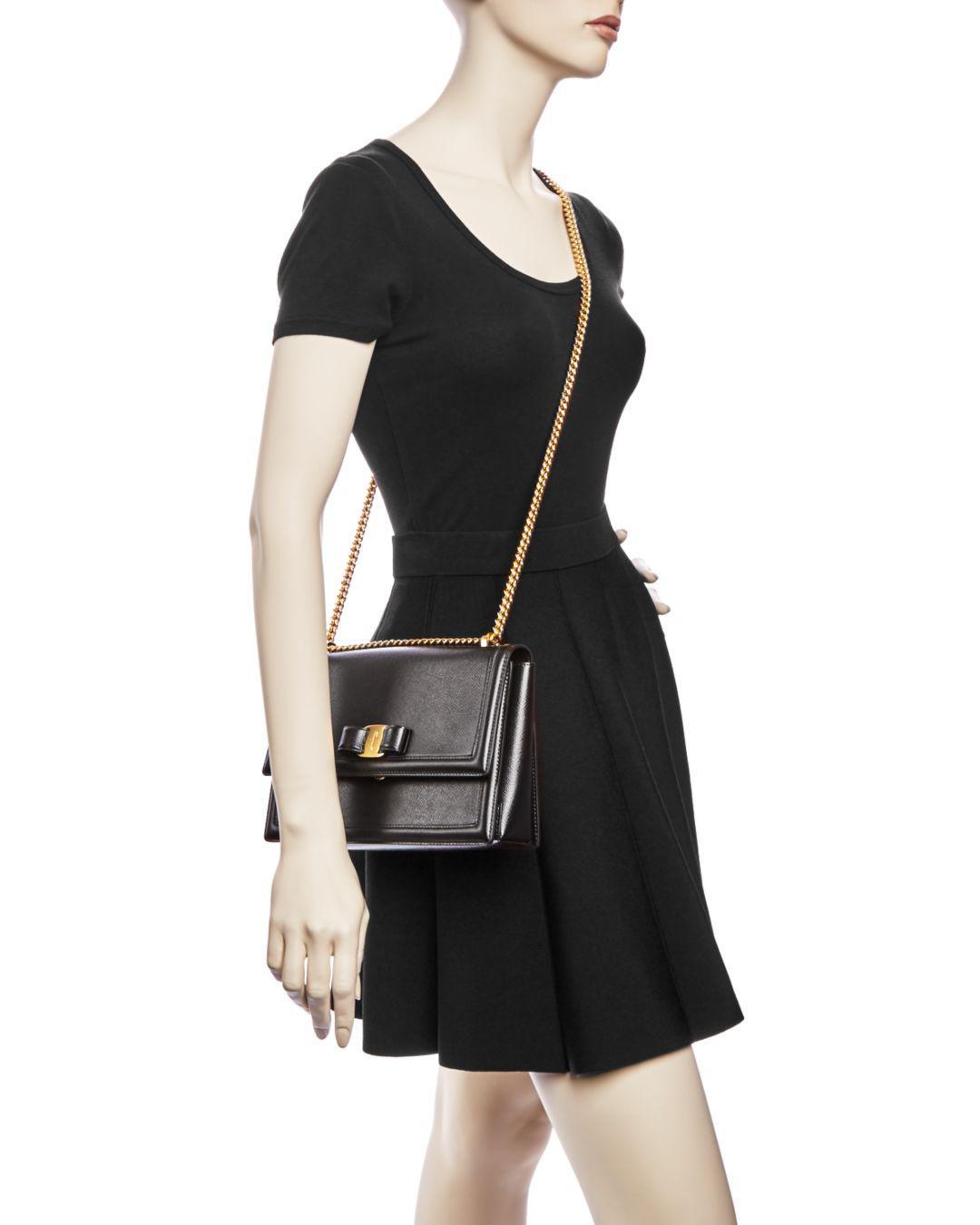 3881d3efaa07 Lyst - Ferragamo Medium Ginny Calfskin Shoulder Bag in Black