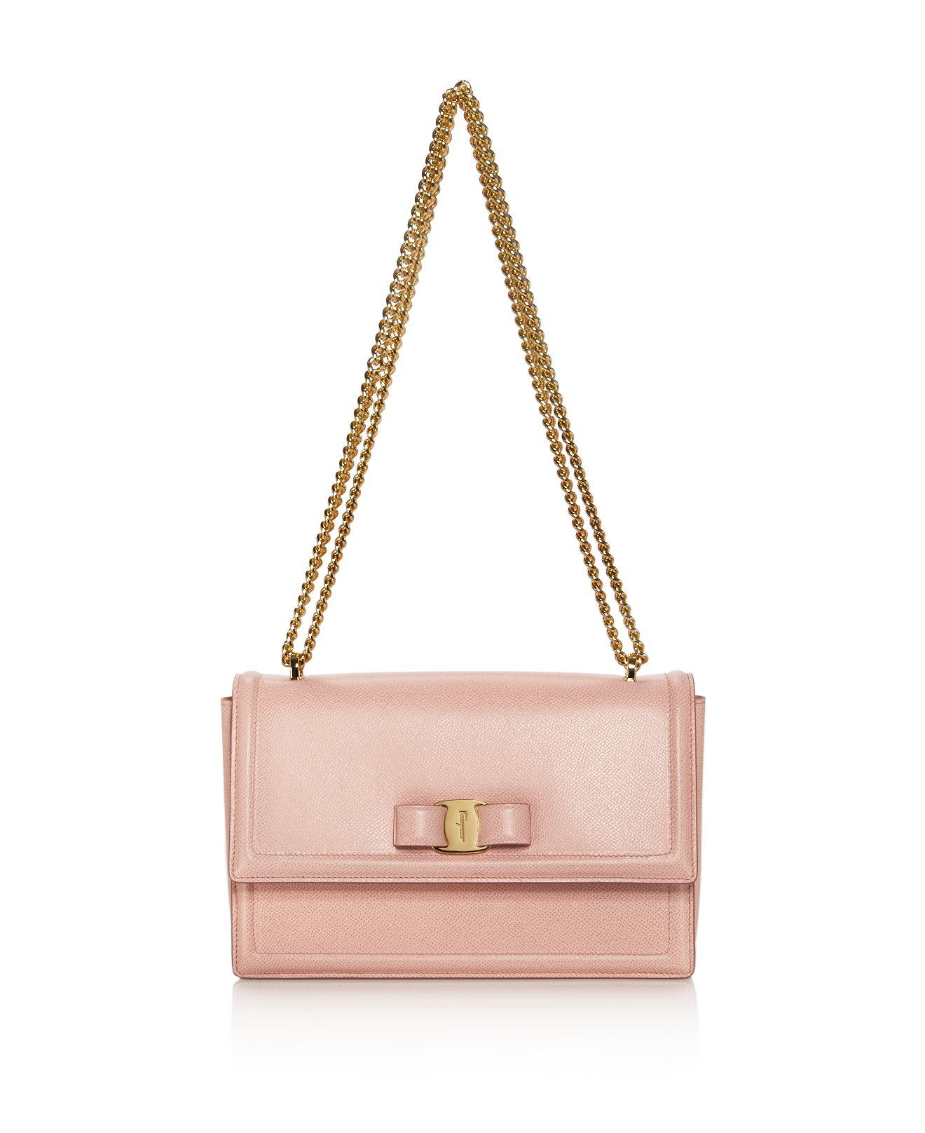 bbe0b7782110 Lyst - Ferragamo Ginny Leather Shoulder Bag in Pink