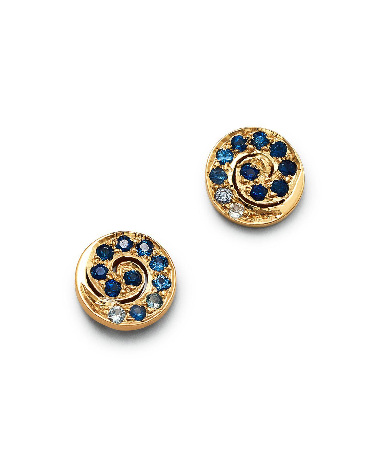 14K Yellow Gold and Sapphire Button Studs She Bee CUE42QLTB