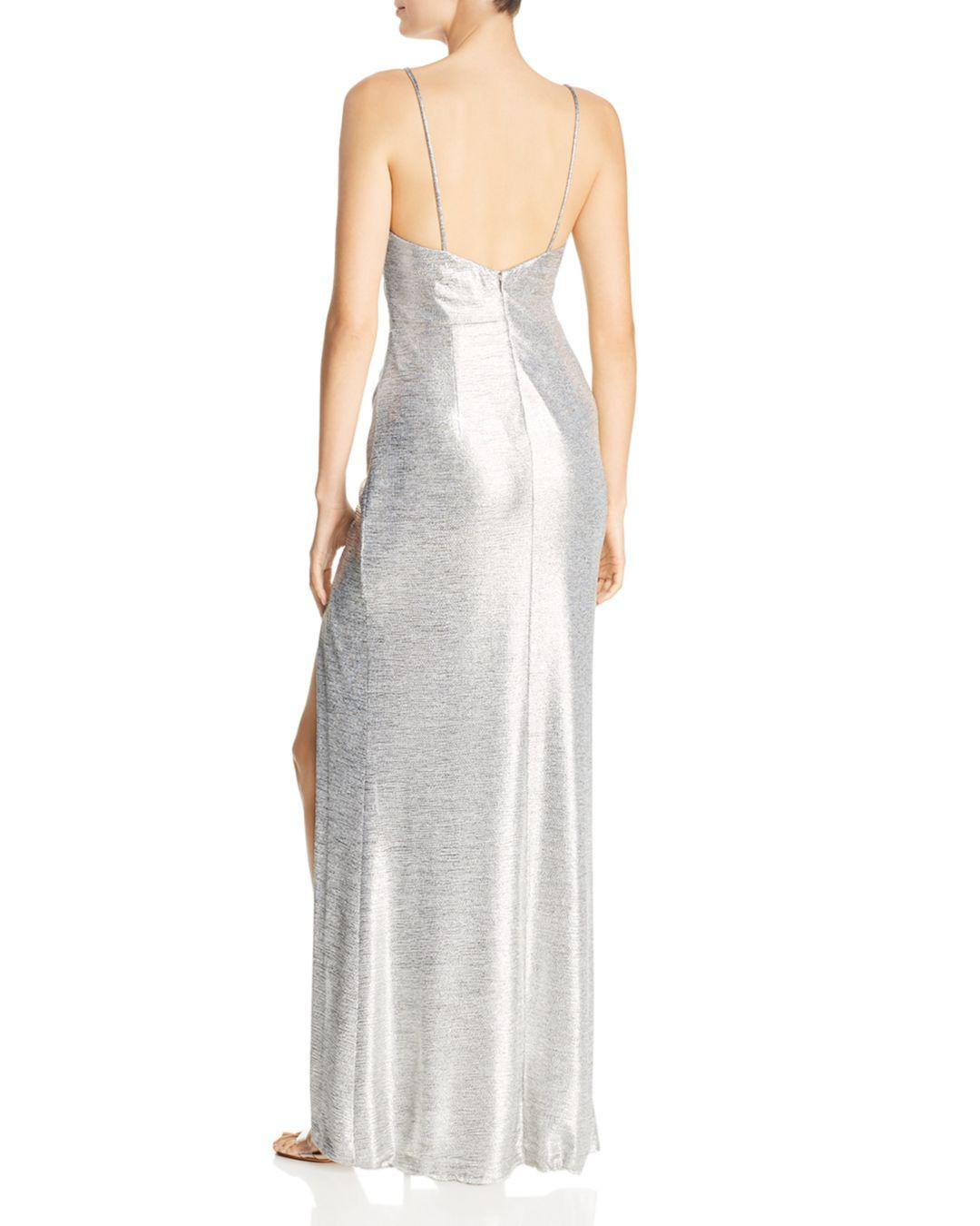 6992714d47545 Betsy & Adam Metallic Knit Drape-neck Gown in Metallic - Lyst