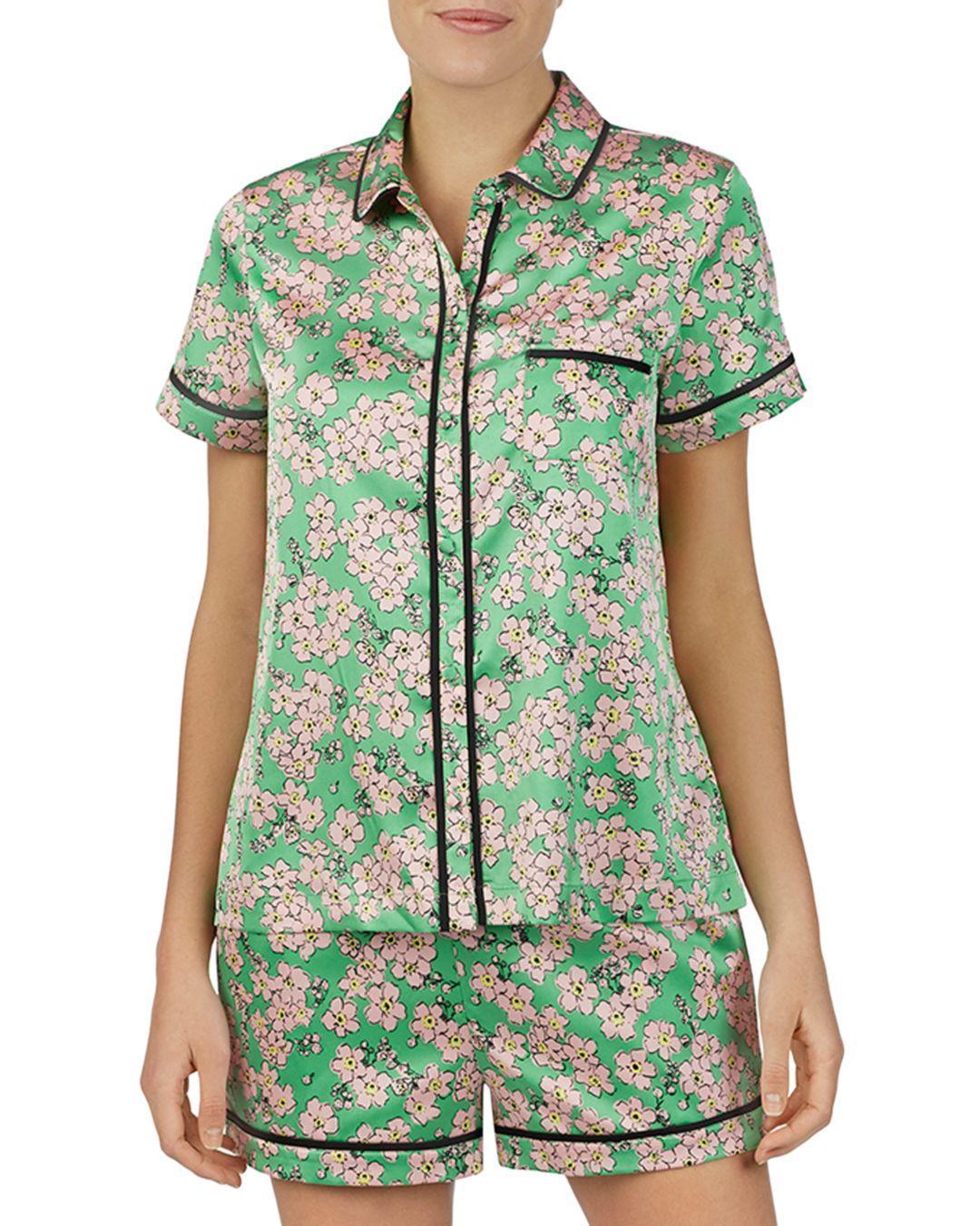 d84e4c33a78 Kate Spade Fresh Flora Green Short Pj Set in Green - Lyst