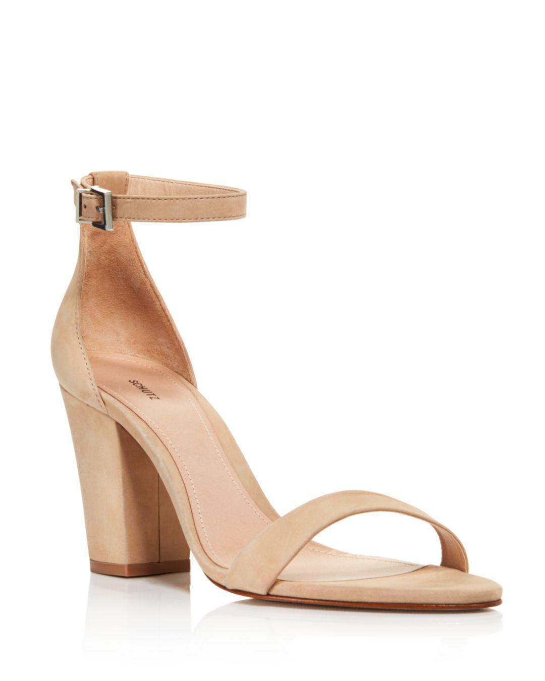 45ff08e0f5cd Schutz Women s Enida Suede Ankle Strap Block-heel Sandals in Natural ...