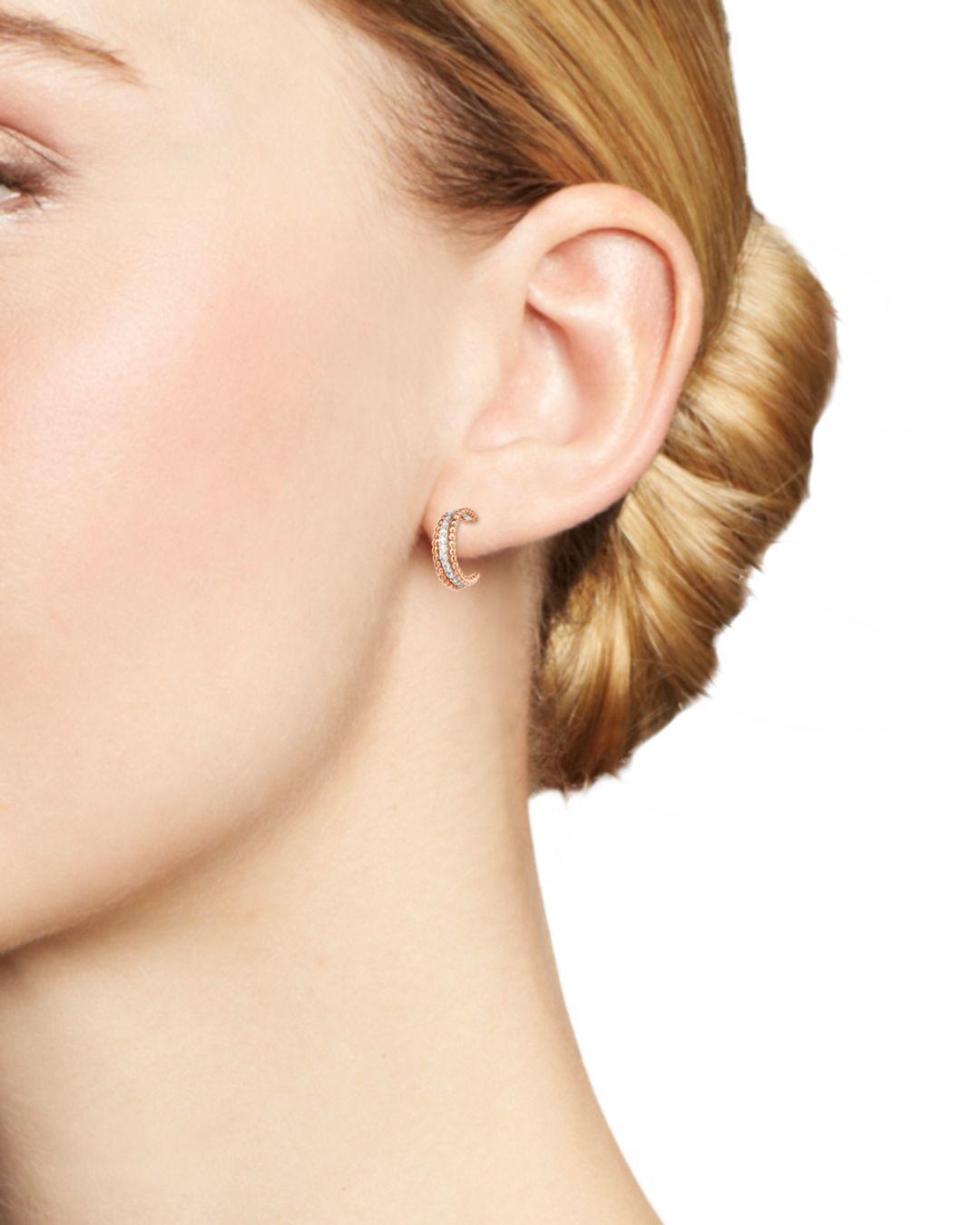 95c06b34680ea0 Bloomingdale's Diamond Beaded Huggie Hoop Earrings In 14k White And Rose  Gold - Lyst