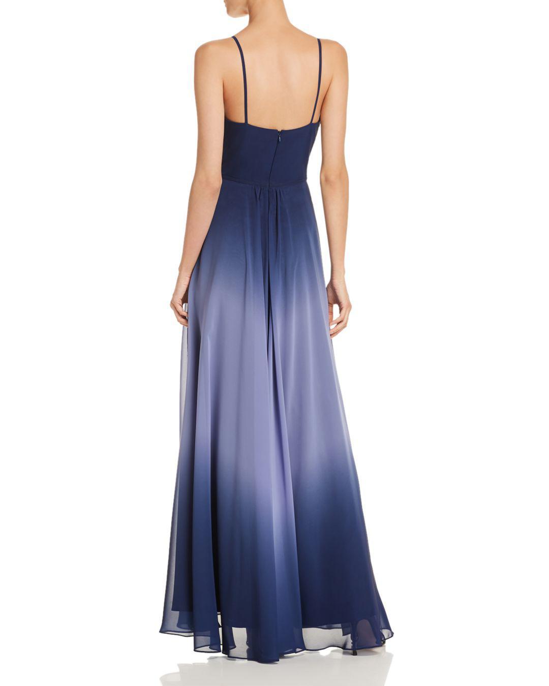 Lyst - Aqua Ombré Chiffon Gown in Blue