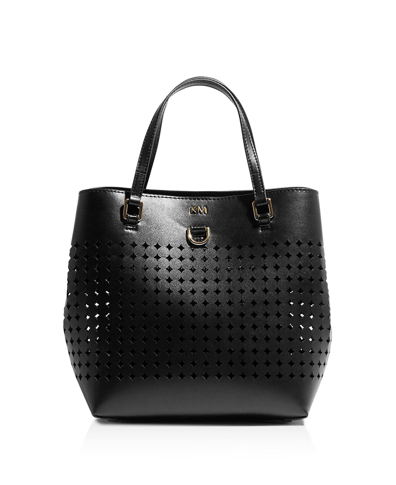 Lyst - Karen Millen Circle Perforated Medium Tote in Black 3a91fe12face9