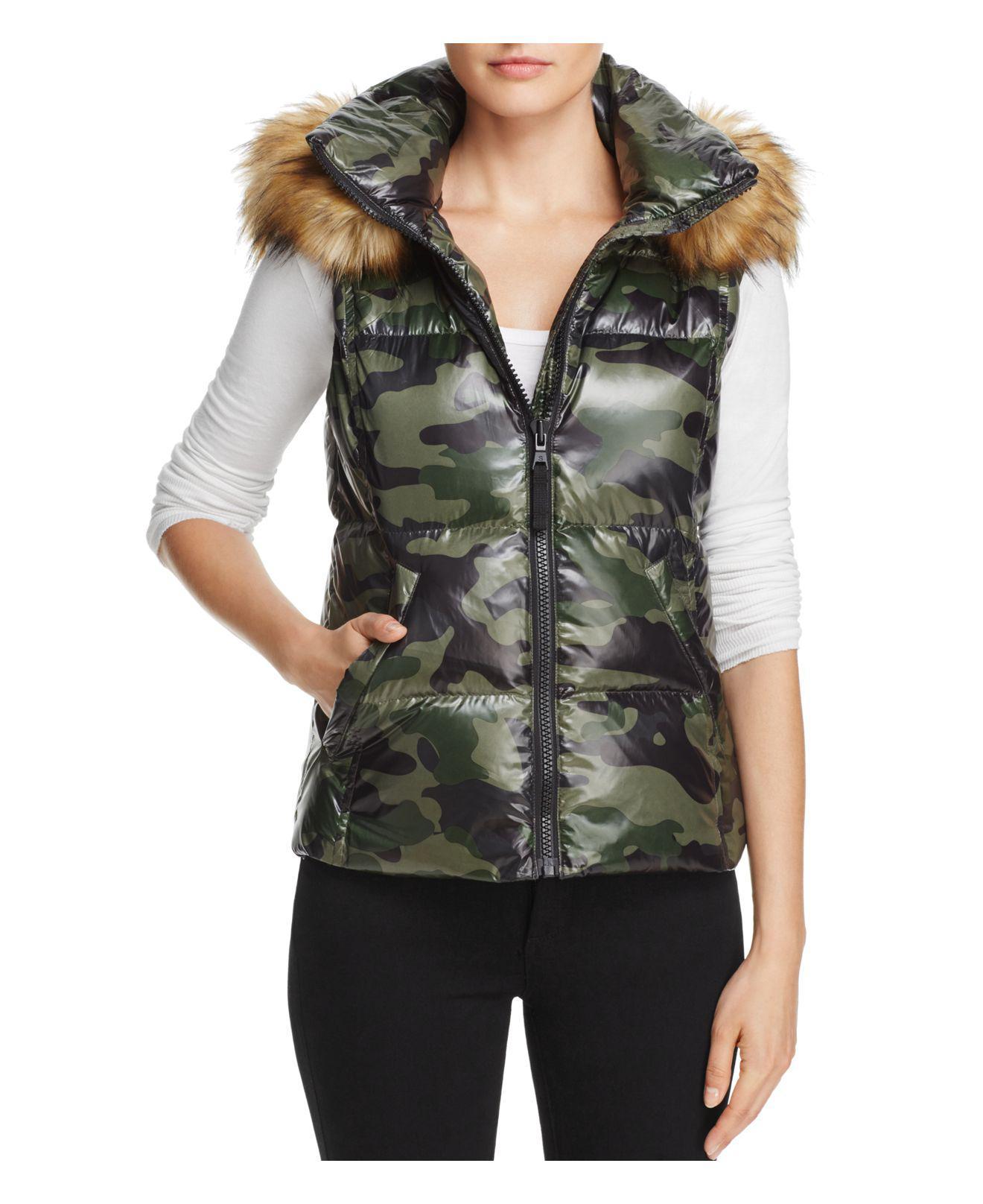 2700735180f37 Aqua Faux Fur-trim Camo Puffer Vest in Green - Lyst