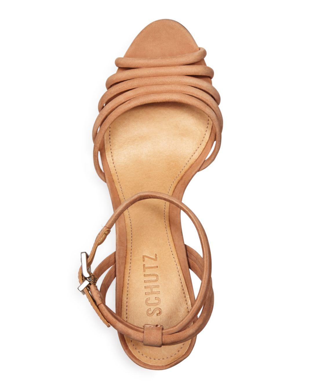 d96cead4658 Schutz - Natural Women s Nicolai Nubuck Leather Block Heel Sandals - Lyst.  View fullscreen