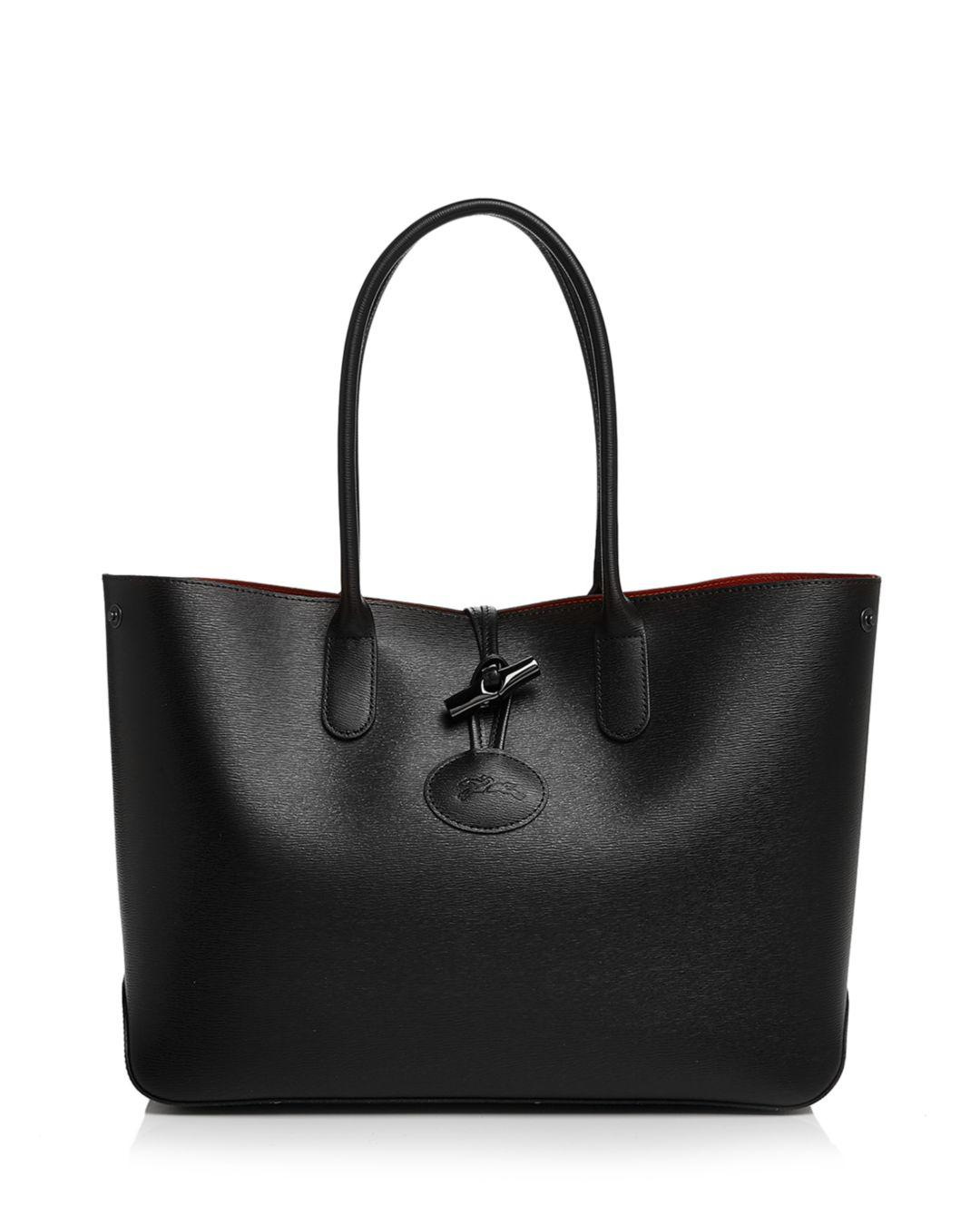 Lyst - Longchamp Roseau Leather Tote in Black - Save 24% 7784558cf1913