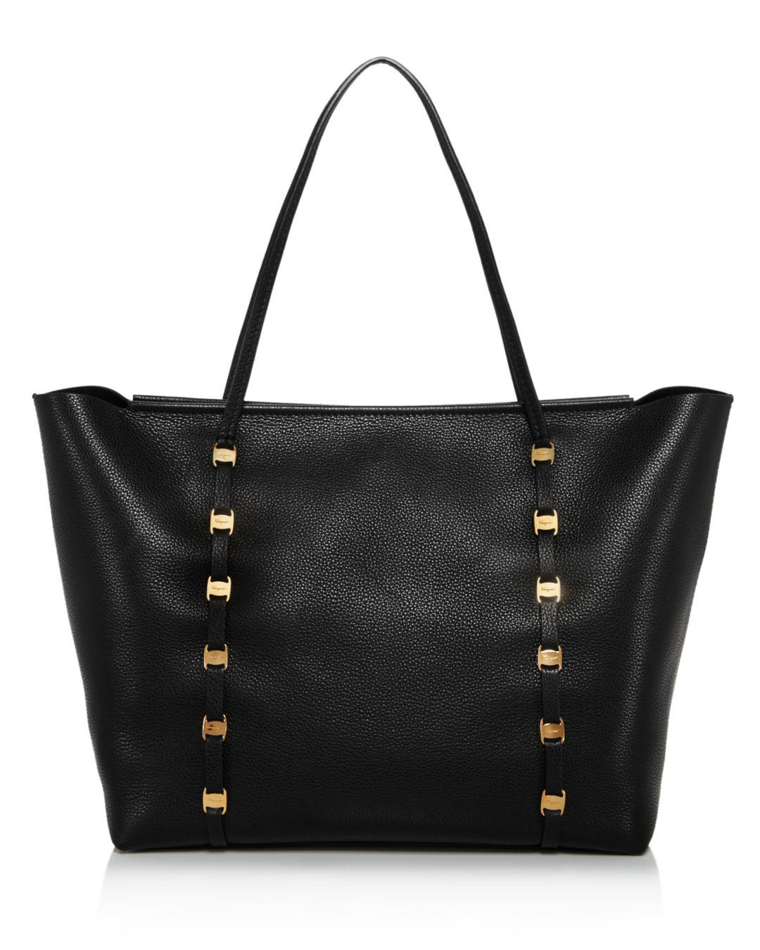 dc605fa5d32 Lyst - Ferragamo Emotion Large Leather Tote in Black