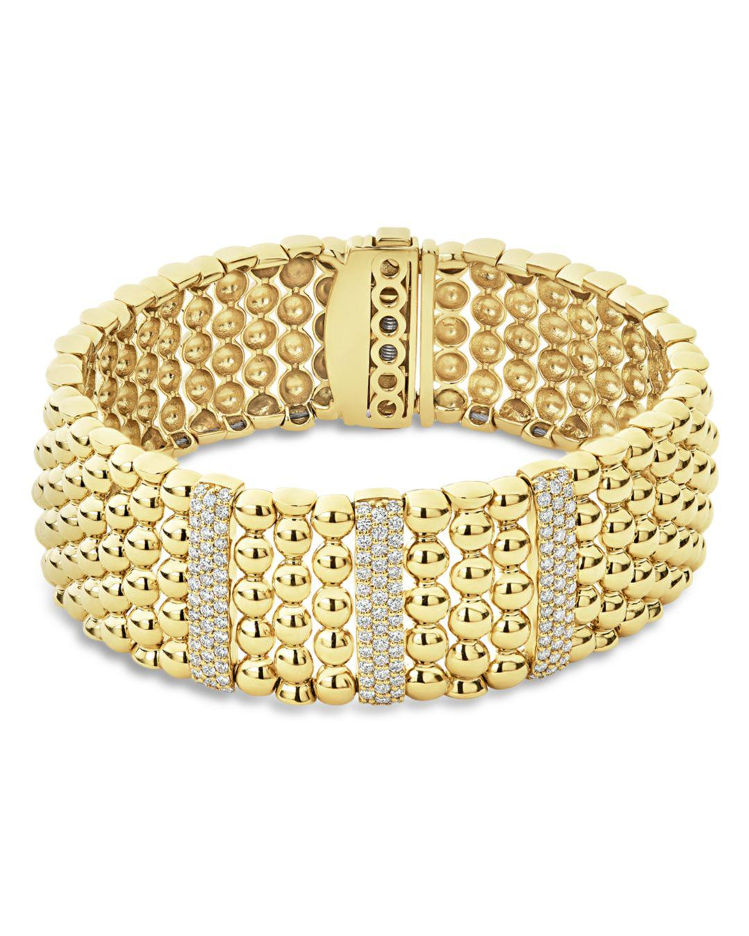 Lagos Women S Metallic 18k Yellow Gold Caviar Three Station Pavé Diamond Statement Bracelet