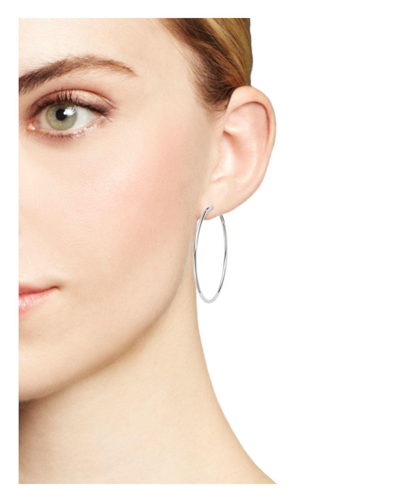 Bloomingdale S 14k White Gold Endless Hoop Earrings Lyst View Fullscreen