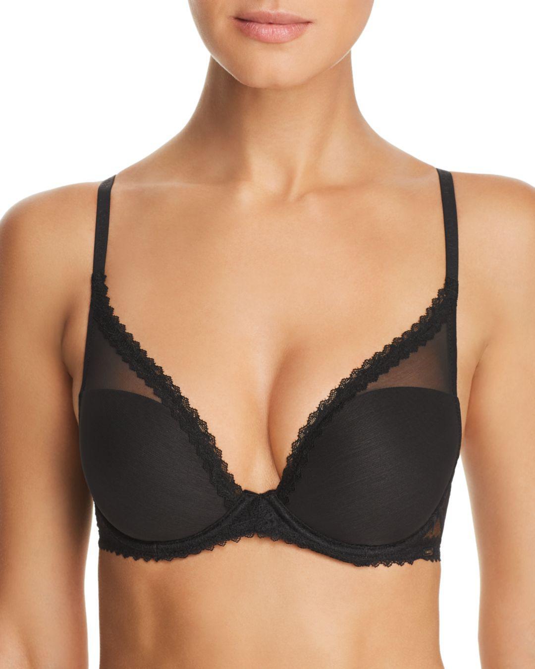 3dc2a279749 Calvin Klein. Women s Black Perfectly Fit Perennial Deep Plunge ...