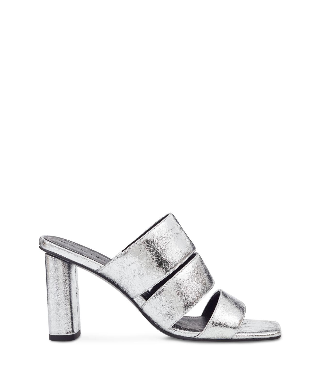 Kendall And Kylie Women's Leila Metallic Leather Block Heel Slide Sandals P5GnVOr
