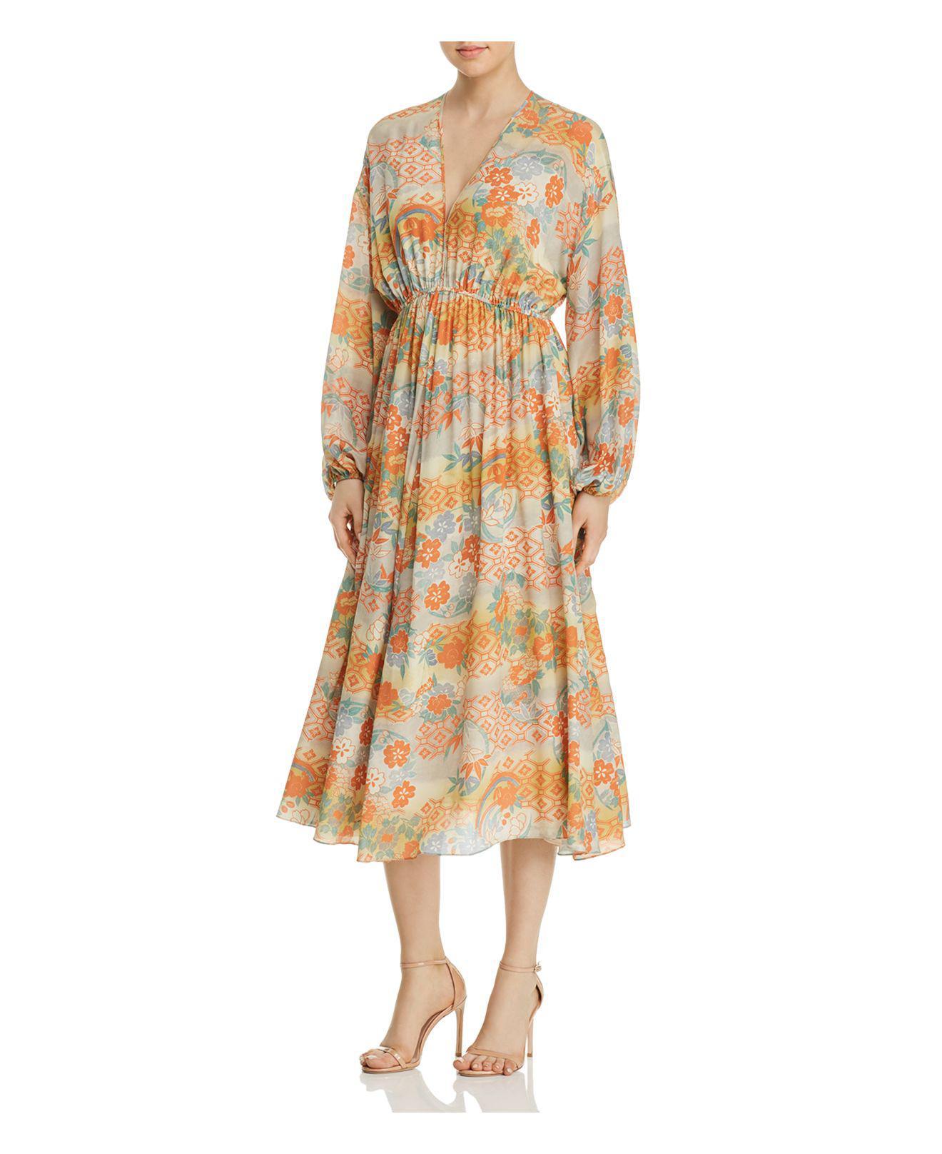Norma Printed Silk Maxi Dress - Marigold Elizabeth & James kUayGC